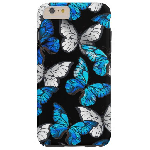 Dark Seamless Pattern with Blue Butterflies Morpho Tough iPhone 6 Plus Case