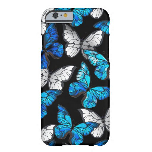 Dark Seamless Pattern with Blue Butterflies Morpho Barely There iPhone 6 Case