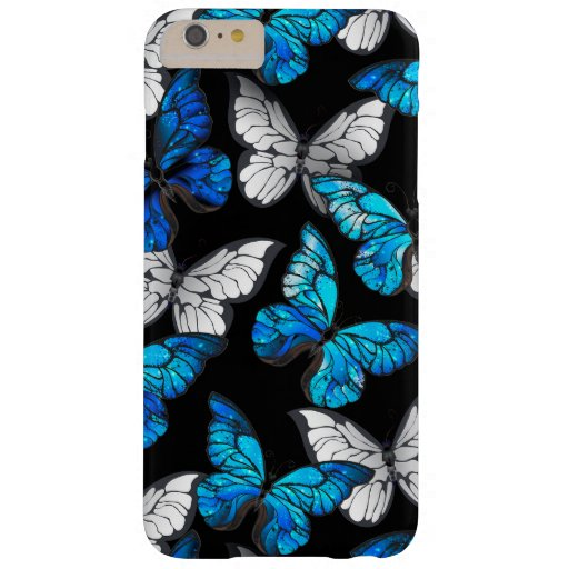 Dark Seamless Pattern with Blue Butterflies Morpho Barely There iPhone 6 Plus Case