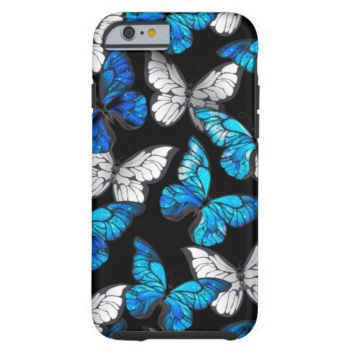 Dark Seamless Pattern with Blue Butterflies Morpho Tough iPhone 6 Case