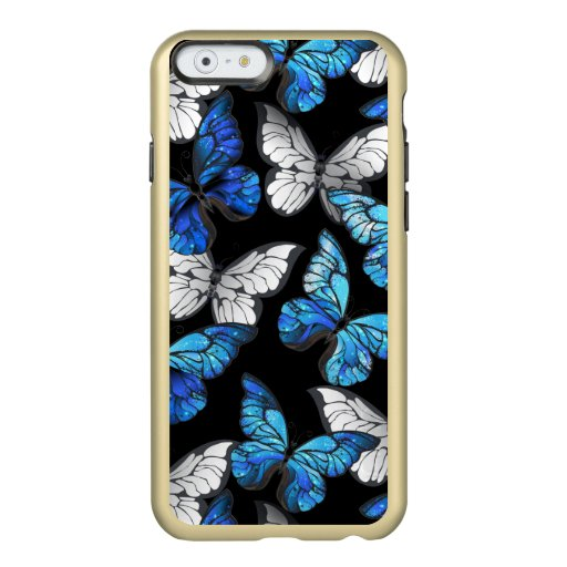 Dark Seamless Pattern with Blue Butterflies Morpho Incipio Feather Shine iPhone 6 Case