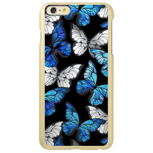 Dark Seamless Pattern with Blue Butterflies Morpho Incipio Feather Shine iPhone 6 Plus Case