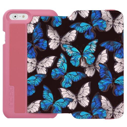 Dark Seamless Pattern with Blue Butterflies Morpho iPhone 6/6s Wallet Case