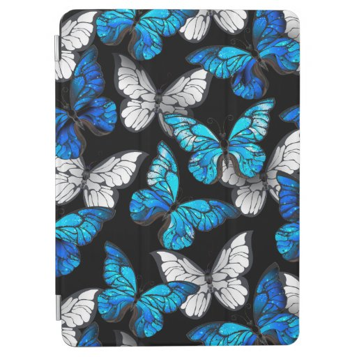 Dark Seamless Pattern with Blue Butterflies Morpho iPad Air Cover