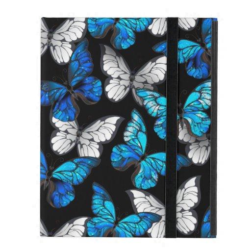 Dark Seamless Pattern with Blue Butterflies Morpho iPad Case