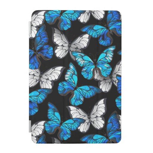 Dark Seamless Pattern with Blue Butterflies Morpho iPad Mini Cover