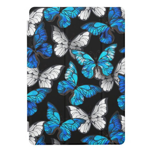 Dark Seamless Pattern with Blue Butterflies Morpho iPad Pro Cover