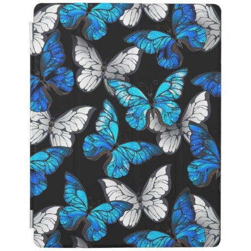 Dark Seamless Pattern with Blue Butterflies Morpho iPad Smart Cover