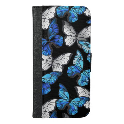 Dark Seamless Pattern with Blue Butterflies Morpho iPhone 6/6s Plus Wallet Case