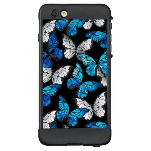 Dark Seamless Pattern with Blue Butterflies Morpho LifeProof NÜÜD iPhone 6 Plus Case