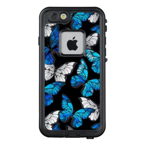 Dark Seamless Pattern with Blue Butterflies Morpho LifeProof FRĒ iPhone 6/6s Case