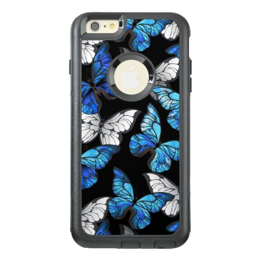 Dark Seamless Pattern with Blue Butterflies Morpho OtterBox iPhone 6/6s Plus Case