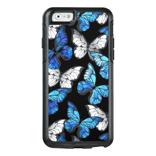 Dark Seamless Pattern with Blue Butterflies Morpho OtterBox iPhone 6/6s Case