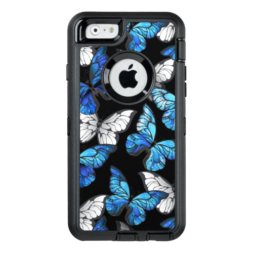 Dark Seamless Pattern with Blue Butterflies Morpho OtterBox Defender iPhone Case