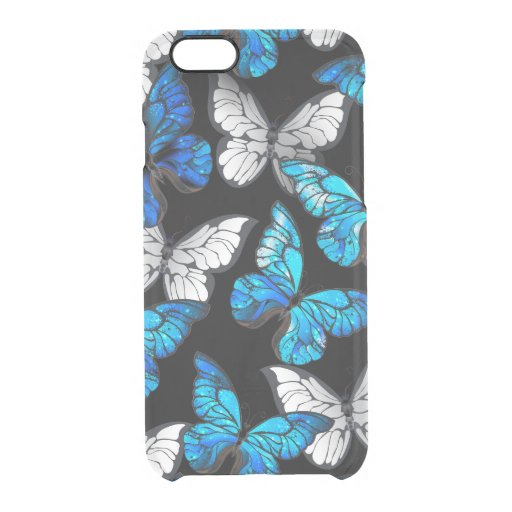 Dark Seamless Pattern with Blue Butterflies Morpho Clear iPhone 6/6S Case