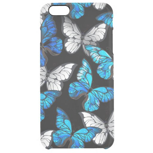 Dark Seamless Pattern with Blue Butterflies Morpho Clear iPhone 6 Plus Case