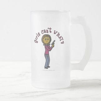 Dark Sharpshooter Girl 16 Oz Frosted Glass Beer Mug