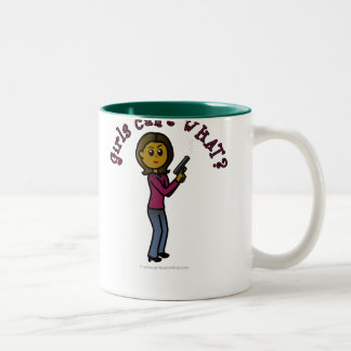 Dark Sharpshooter Girl Two-Tone Coffee Mug