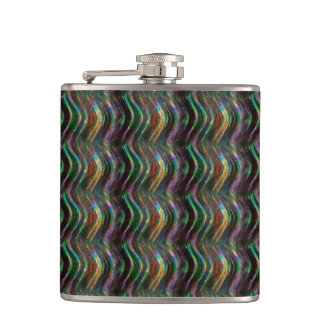 Dark Shiny Holographic Wave Pattern Pixel Flask