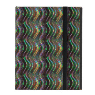 Dark Shiny Holographic Wave Pattern Pixel iPad Cover