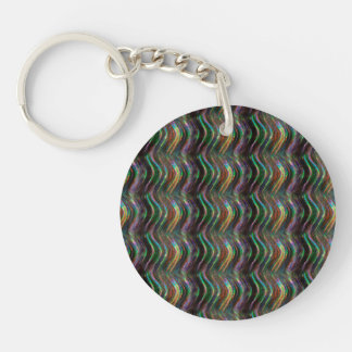 Dark Shiny Holographic Wave Pattern Pixel Keychain