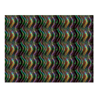 Dark Shiny Holographic Wave Pattern Pixel Postcard