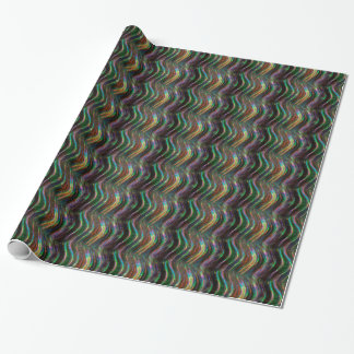 Dark Shiny Holographic Wave Pattern Pixel Gift Wrapping Paper