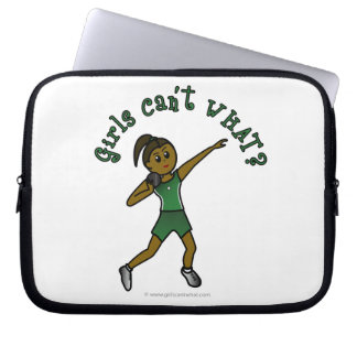Dark Shot Put Girl in Green Uniform Laptop Computer Sleeve