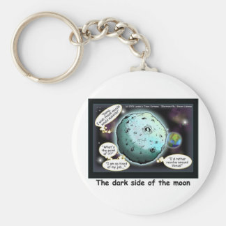 Dark Side Of The Moon Funny Cartoon Gifts Basic Round Button Keychain
