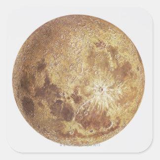 Dark side of the moon, illustration square sticker