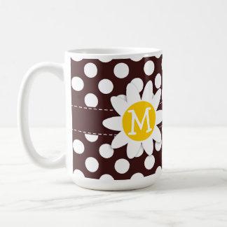 Dark Sienna Polka Dots; Daisy Coffee Mugs