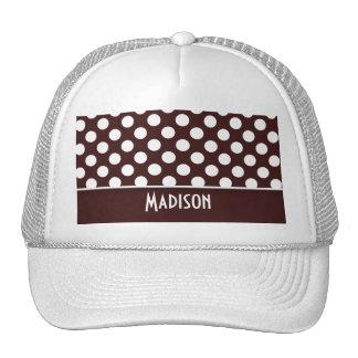 Dark Sienna Polka Dots; Personalized Trucker Hat