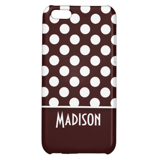 Dark Sienna Polka Dots; Personalized iPhone 5C Cover