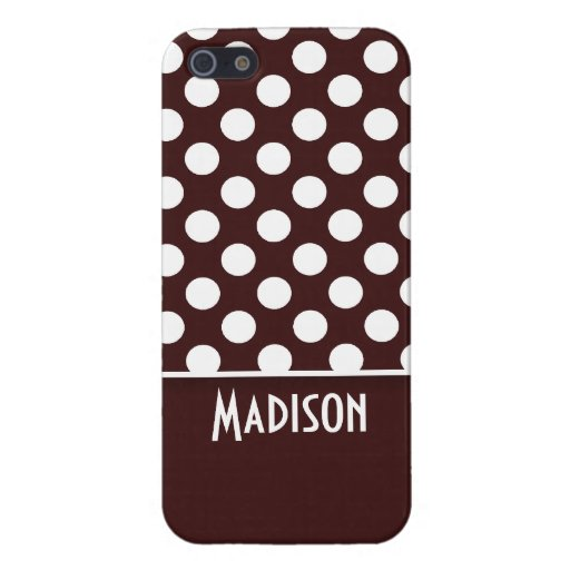 Dark Sienna Polka Dots; Personalized iPhone 5 Cover