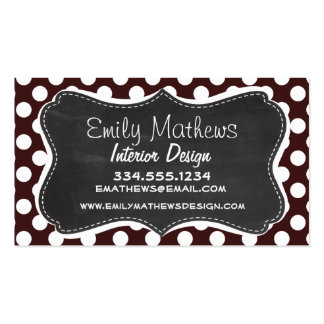 Dark Sienna Polka Dots; Retro Chalkboard Business Card