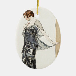Dark Silver Gown from Mid 1900s Ceramic Ornament