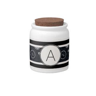 Dark Silver Sewing Pattern with Monogram Candy Jar