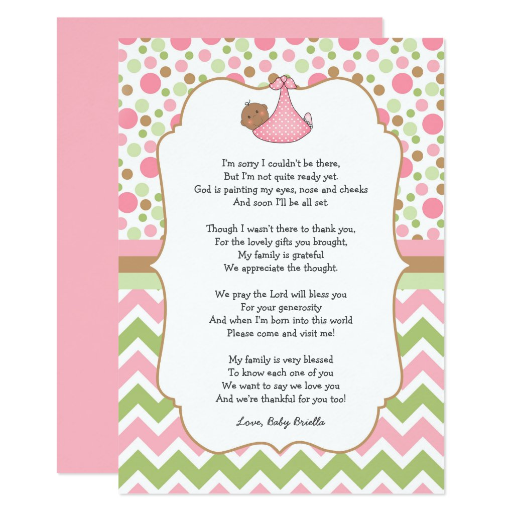 Dark Skin brown eyes Baby Shower Thank You note Card