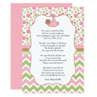 Dark Skin brown eyes Baby Shower Thank You note Card