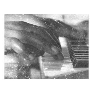 dark skin hands bw playing piano keyboard grunge flyer