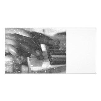 dark skin hands bw playing piano keyboard grunge personalized photo card