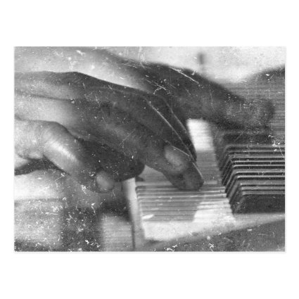 dark skin hands bw playing piano keyboard grunge post card