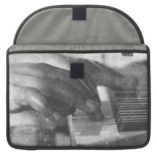 dark skin hands bw playing piano keyboard grunge sleeve for MacBooks