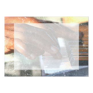 dark skin hands playing piano keyboard grunge card