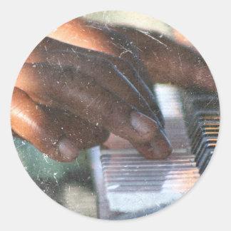 dark skin hands playing piano keyboard grunge classic round sticker
