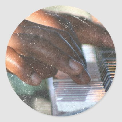 dark skin hands playing piano keyboard grunge classic round sticker