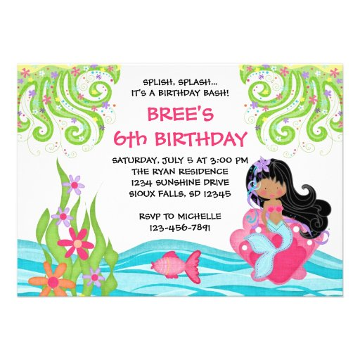 Dark Skin Mermaid Birthday Invitations