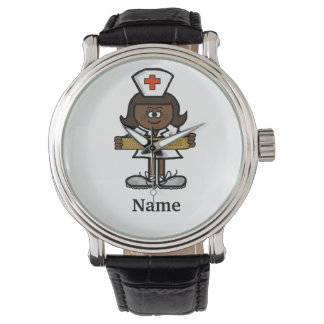 Dark Skin or Black Female Nurse Watch  Customize