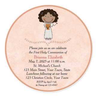 Dark Skinned Girl, Peach, First Communion Card