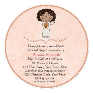 Dark Skinned Girl, Peach, First Communion Card